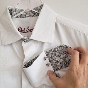 Robert Graham white button dress shirt grey colar